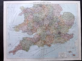 Gross 1920 Large Map. England & Wales - South